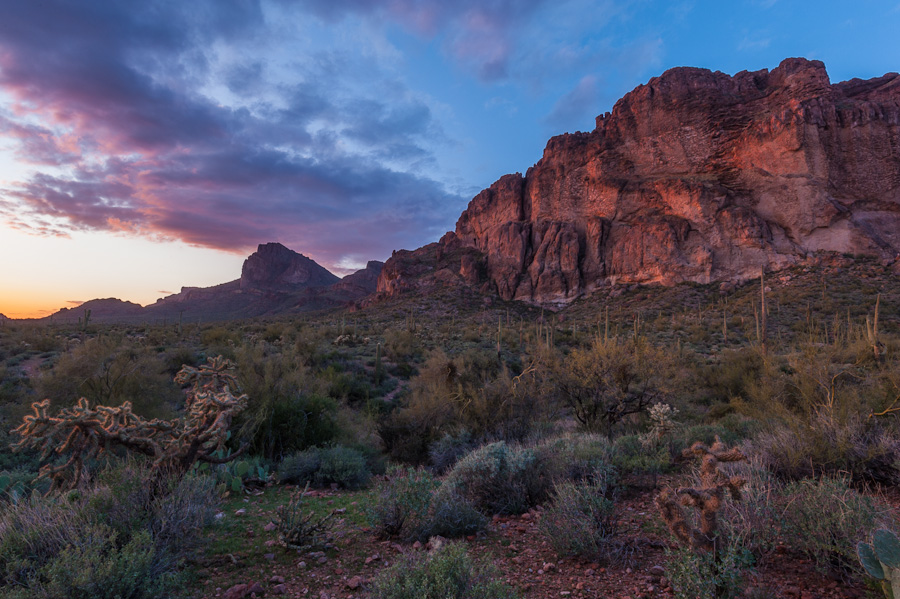 Sunset photo of the Superstition Mountains